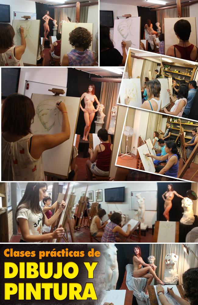 Trabajos y alumnos de los cursos y clases de dibujo tradicional y pintura de academia c10 de Carlos Diez en Madrid. Oficios artisticos.